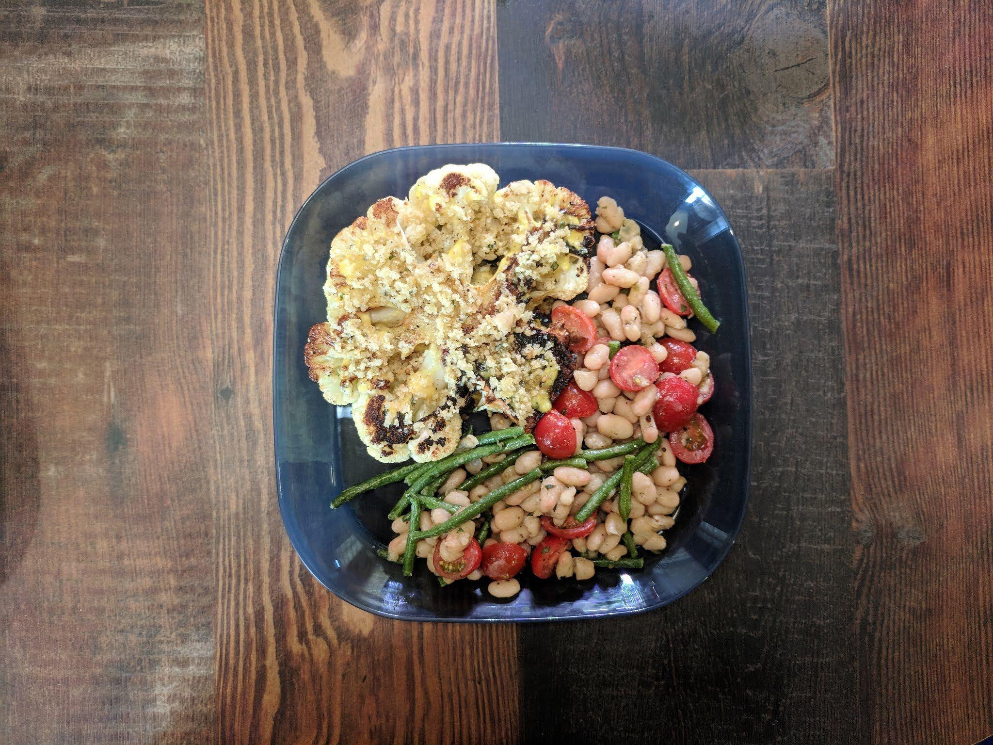Cauliflower Steak with Bean Salad