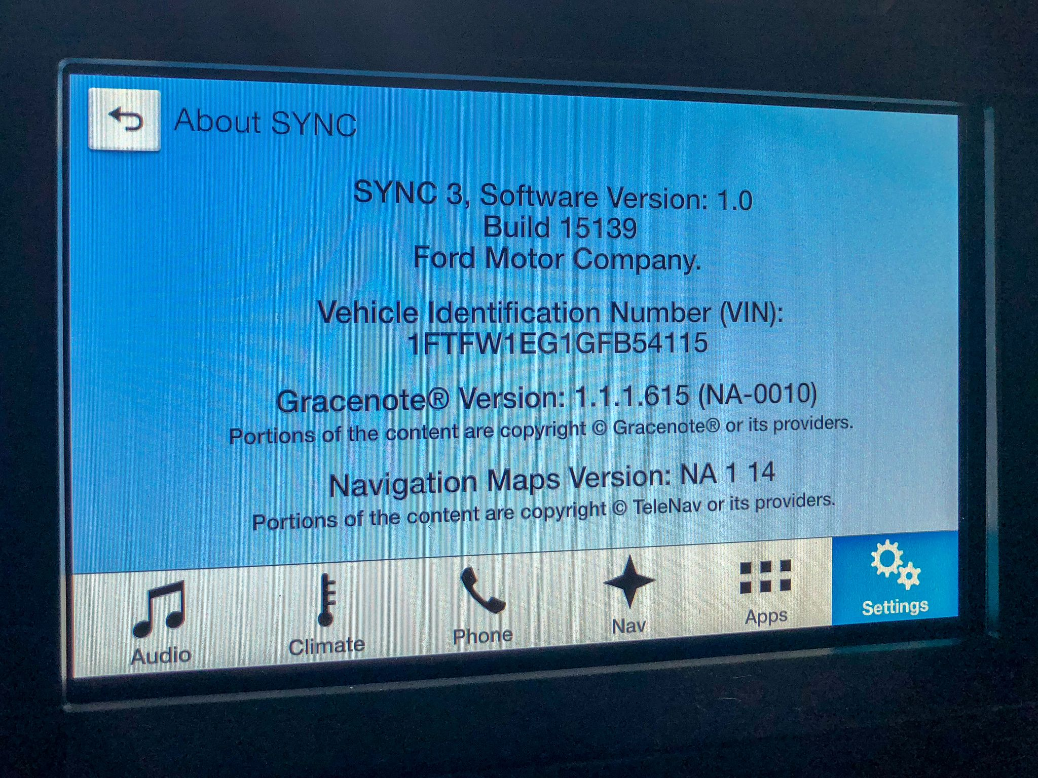 Ford SYNC3 Version 1.0