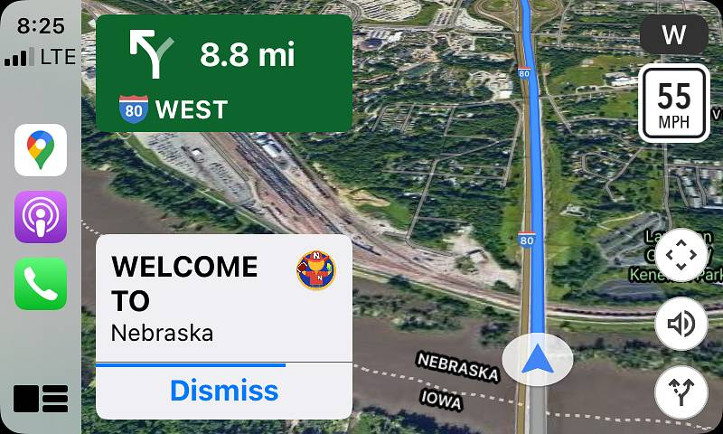 Apple CarPlay Google Maps Welcome to Nebraska