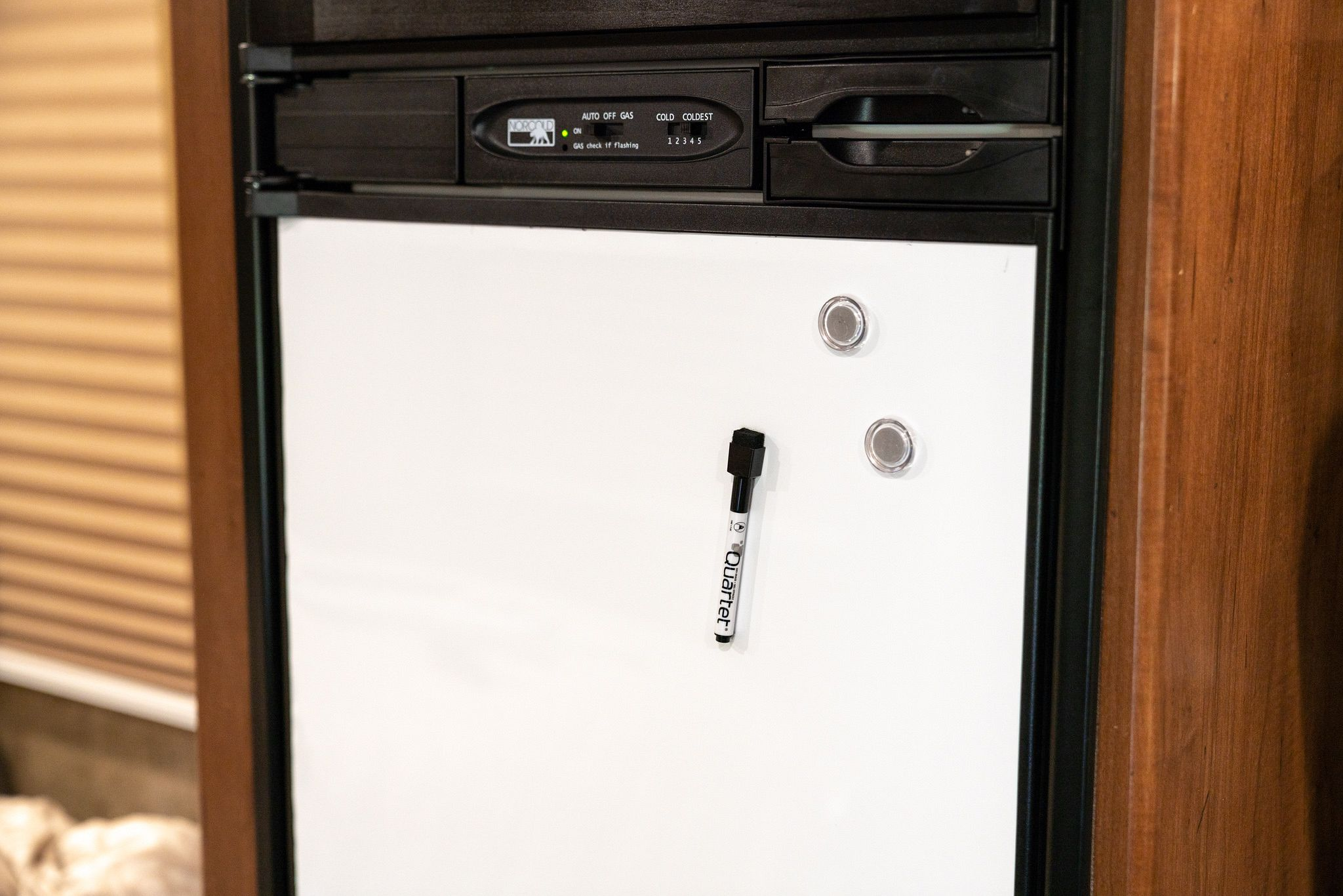 Magnetic dry-erase board to replace the RV fridge door