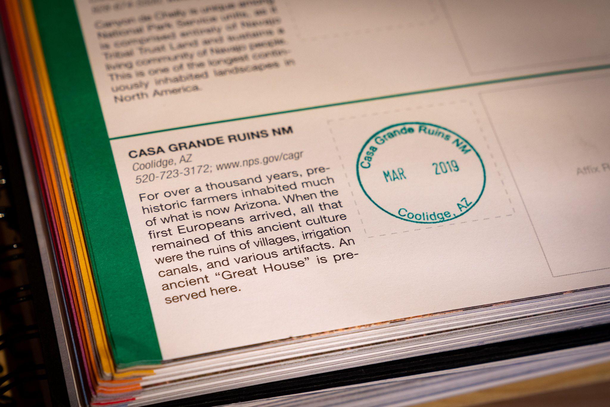 Passport Stamp at Casa Grande Ruins National Monument